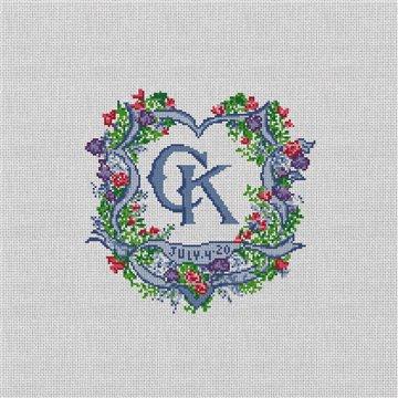 Ribbon Crest Wedding Needlepoint Pillow Canvas