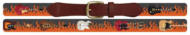 Rock and Roll Guitar Needlepoint Belt
