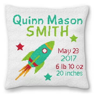 Rocket Birth Announcement Needlepoint Pillow