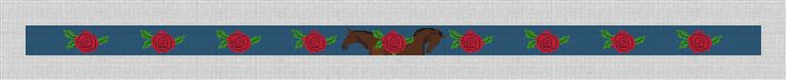 Roses and Horses Derby Needlepoint Belt Canvas