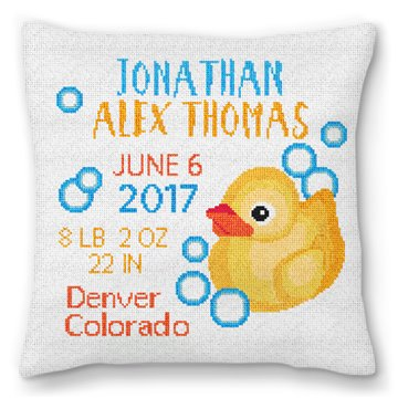 Rubber Duck Birth Announcement Needlepoint Pillow