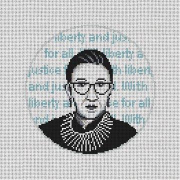 Ruth Bader Ginsburg Needlepoint Ornament Canvas