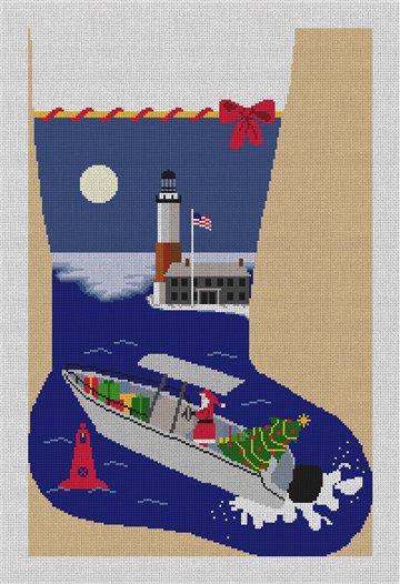 Santa Fishing Needlepoint Stocking Canvas