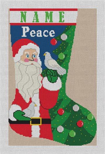 Santa's Dove Christmas Stocking Needlepoint Canvas