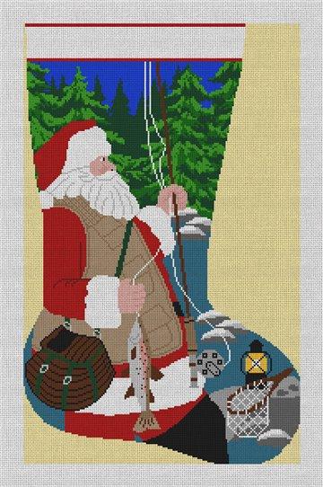 Santa's Fishing Stocking Needlepoint Canvas