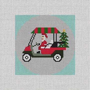 Santa's Golf Cart Needlepoint Ornament Canvas
