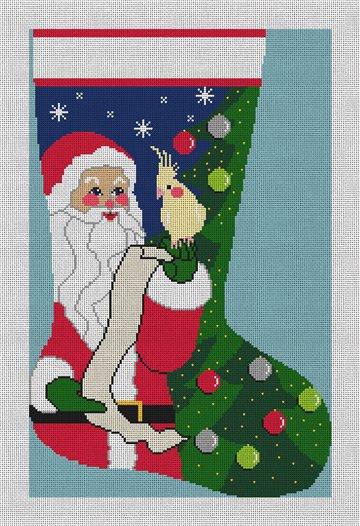 Santa's Helper Stocking Needlepoint Canvas