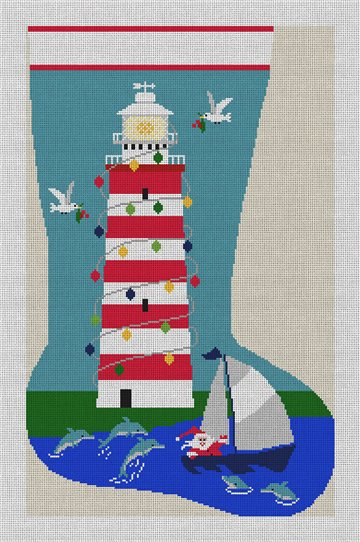 Santa's Lighthouse Needlepoint Stocking Canvas
