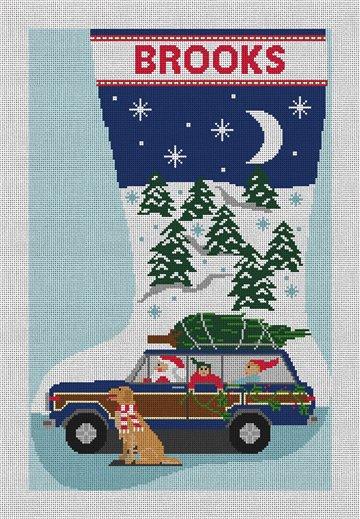 Santa's New Ride Stocking Needlepoint Canvas