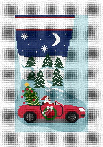 Santa's New Toy Needlepoint Mini Stocking Canvas