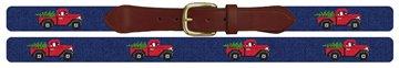 Santa's Red Truck Needlepoint Belt