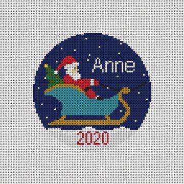 Santa's Sleigh Needlepoint Ornament Canvas