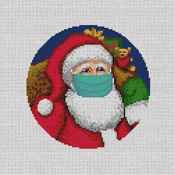 Santa's X Mask Needlepoint Ornament Canvas