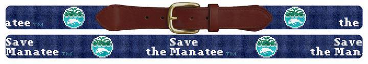 Save The Manatee Dark Blue Needlepoint Belt