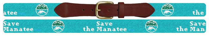 Save The Manatee Light Blue Needlepoint Belt
