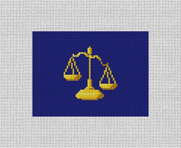 Scales of Justice Needlepoint Card Wallet Canvas