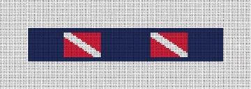Scuba Diving Flag Needlepoint Key Fob Canvas