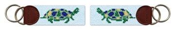 Sea Turtle Needlepoint Key Fob
