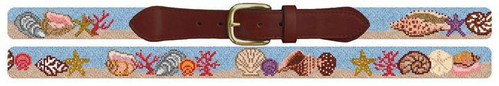 Seashell Needlepoint Belt