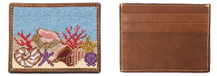 Seashell Needlepoint Card Wallet