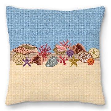 Seashell Needlepoint Pillow
