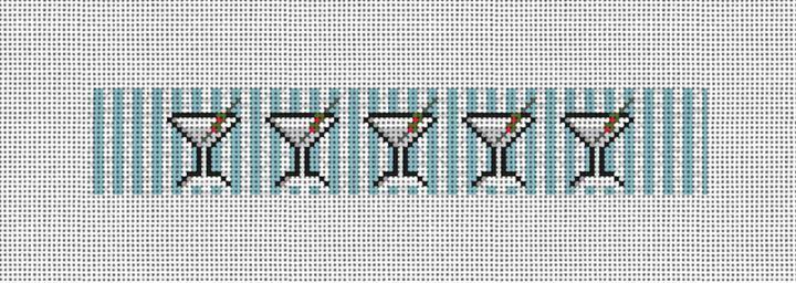 Seersucker Martini Needlepoint Key Fob Canvas