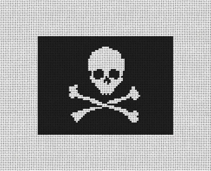 Skull Crossbones Needlepoint Card Wallet Canvas
