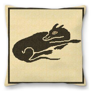 Sleeping Dog Mosaic Needlepoint Pillow