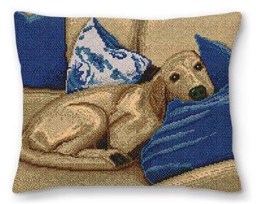 Sleepy Pup Needlepoint Pillow