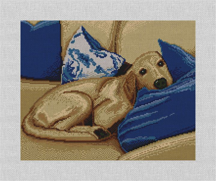 Sleepy Pup Needlepoint Pillow Canvas