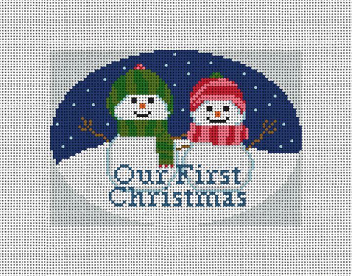 Snow Couple Needlepoint Ornament Canvas