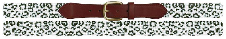 Snow Leopard Needlepoint Belt