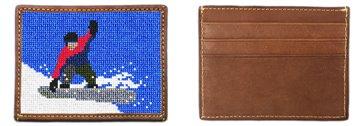 Snowboarding Needlepoint Card Wallet