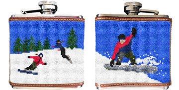 Snowboarding Needlepoint Flask