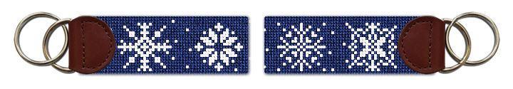 Snowflakes Needlepoint Key Fob