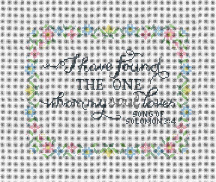 Song of Solomon Wedding Needlepoint Pillow Canvas