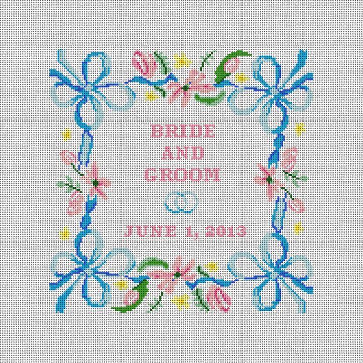 Spring Ribbon Needlepoint Wedding Pillow Canvas