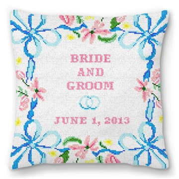 Spring Ribbon Personalized Ring Pillow