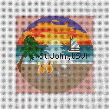 St. John, USVI Needlepoint Ornament Canvas