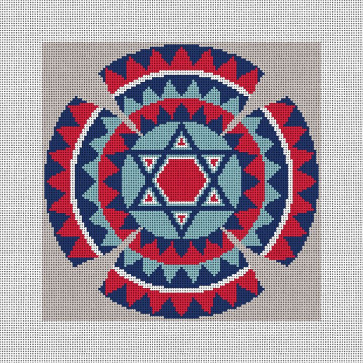 Star of David Kippah Needlepoint Canvas