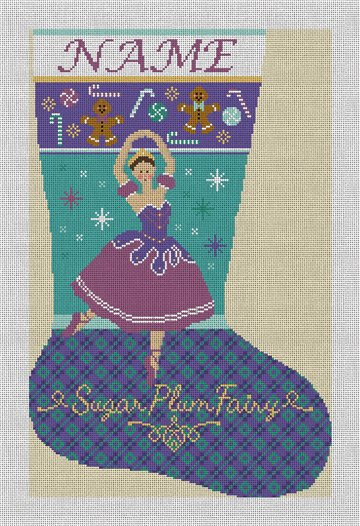 Sugar Plum Fairy Needlepoint Stocking Canvas
