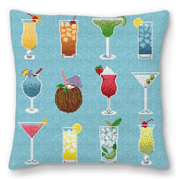 Summertime Cocktails Needlepoint Pillow