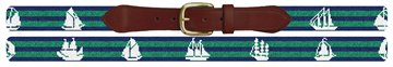 Tall Ship Needlepoint Belt