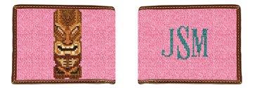 Tiki Needlepoint Wallet