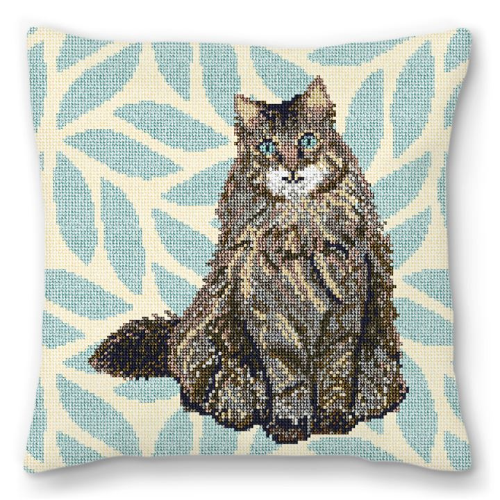 Timid Tabby Cat Needlepoint Pillow