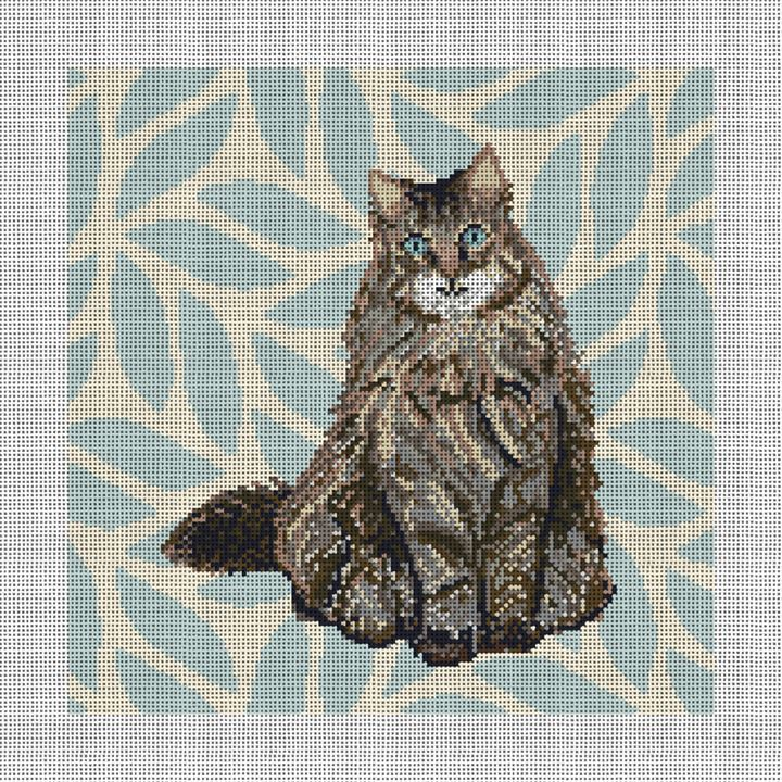 Timid Tabby Cat Needlepoint Pillow Canvas