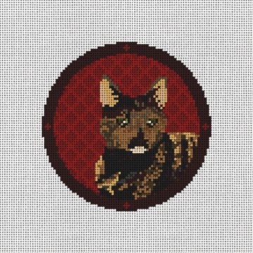 Tortie Cat Needlepoint Ornament Canvas