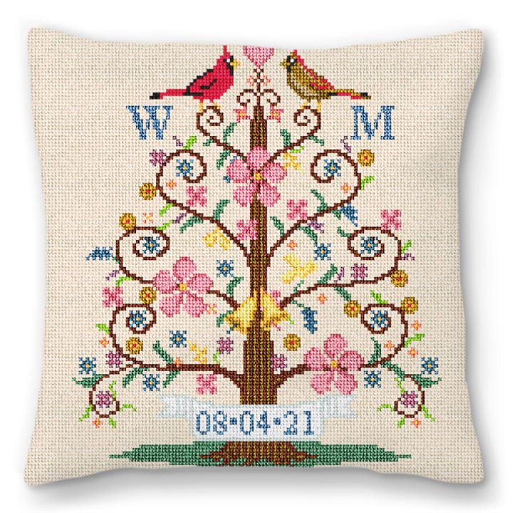 Tree Of Life Birds Needlepoint Pillow
