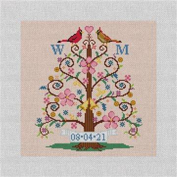 Tree Of Life Birds Needlepoint Pillow Canvas