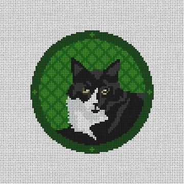 Tuxedo Cat Needlepoint Ornament Canvas